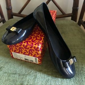 Tory Burch Navy Jelly Ballet Flat with Bow
